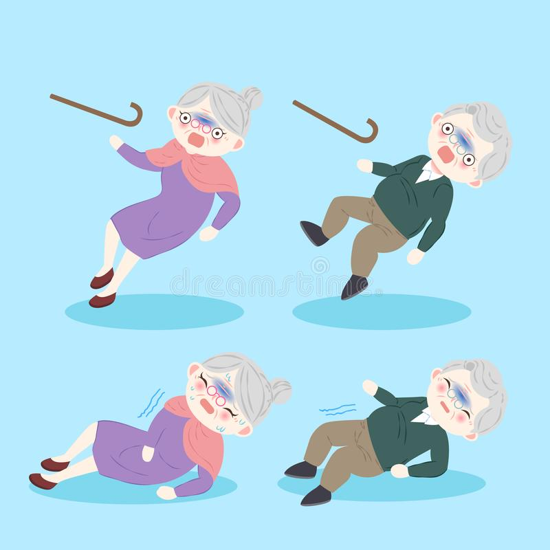 Old people with osteoporosis. On the blue background stock illustration