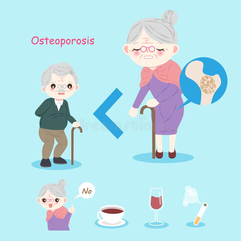 Old people with osteoporosis. Problem on the blue background vector illustration