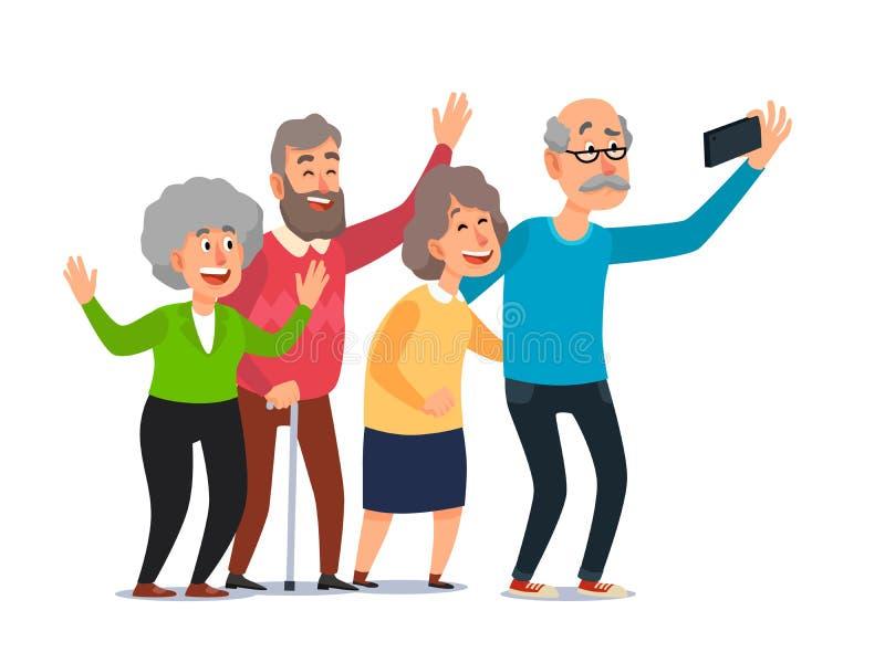 Old people selfie. Senior people taking smartphone photo, happy laughing group of seniors cartoon illustration royalty free illustration