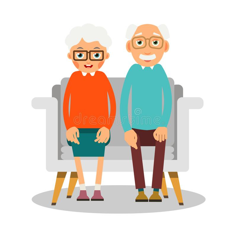 Old people sitting. On the sofa sit elderly woman and man. Famil stock illustration
