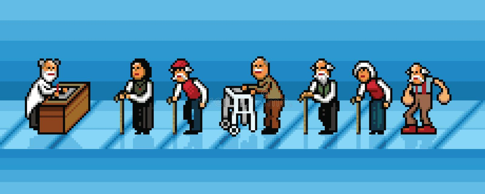 Old people waiting in line in hospital pixel art vector layers illustration vector illustration
