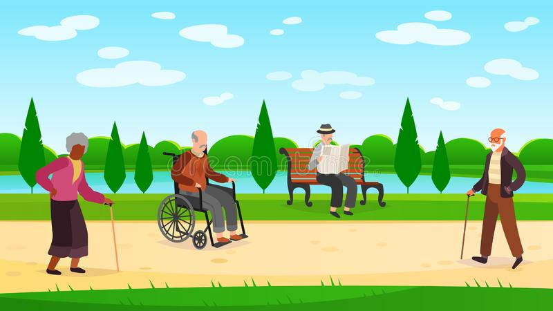 Old people walking park. Outdoors character grandpa grandma walk bench bicycle elderly man woman active pensioner banner vector illustration