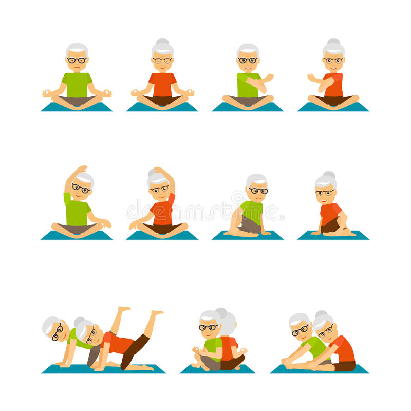 Old people yoga icons vector illustration