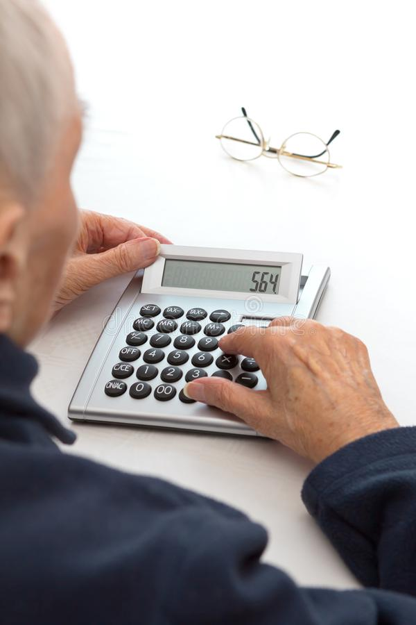 Old person calcutator large buttons stock photos