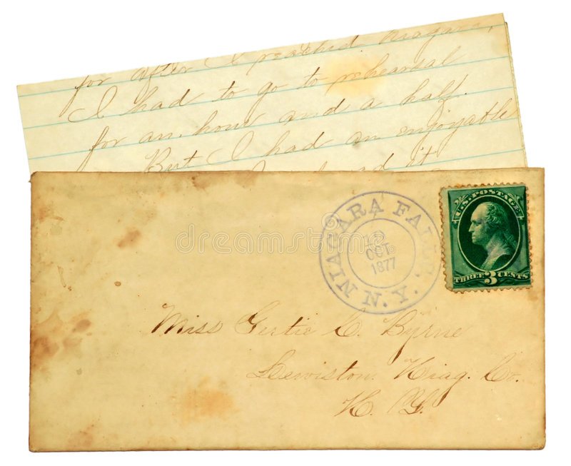 Old Personal Letter. Dated 1877 the envelope has a 3 cent George Washington postage stamp and contains a personal handwritten letter stock photography