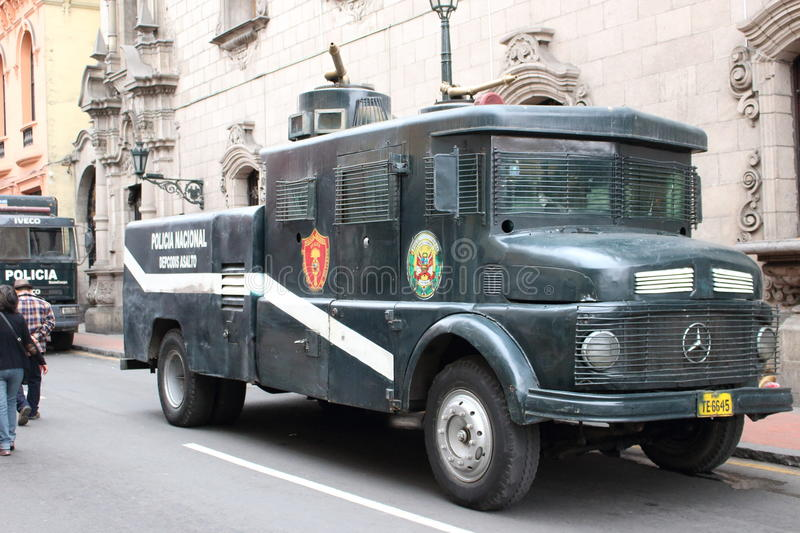 Old peruvian police truck stock images