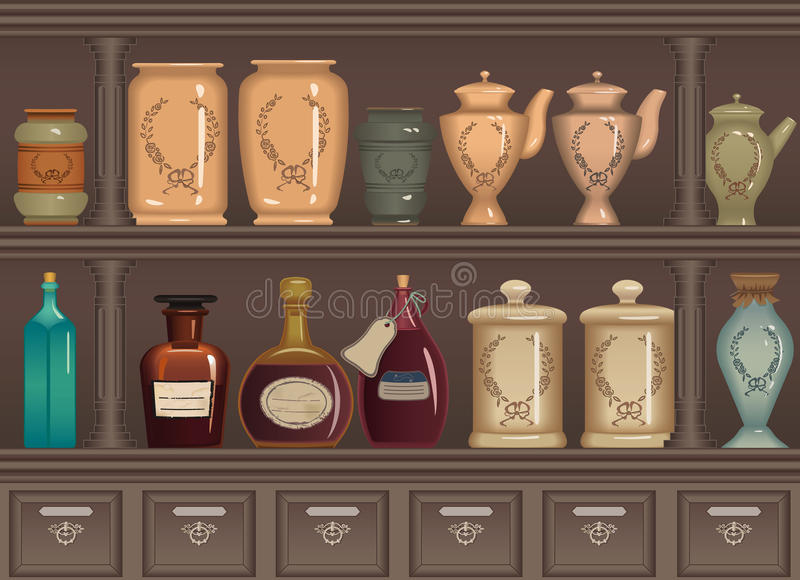 Old pharmacy. Vintage bottles and jars in the pharmacy cabinet - vector illustration royalty free illustration