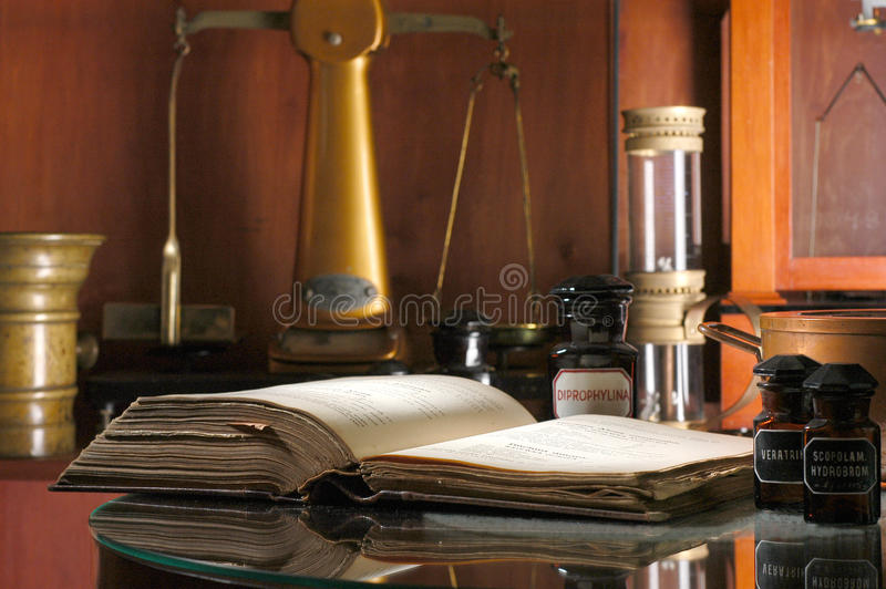 Download Old pharmacy with book stock image. Image of scales, chemist - 10081733