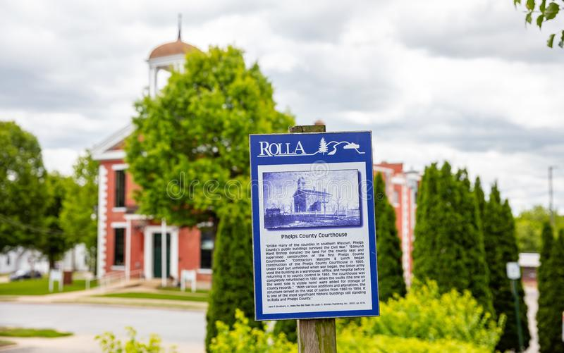 The Old Phelps County Courthouse history on board with information text. Rolla, Missouri, US. Rolla, Missouri, USA. May 12, 2019. The Old Phelps County stock photography