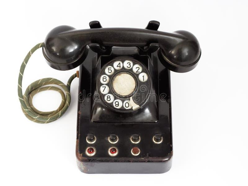 Old phone. Black vintage phone royalty free stock photo