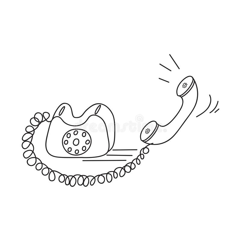 Old phone, black contour drawing on white background. stock photo