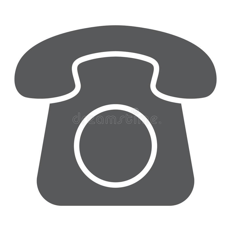 Old phone glyph icon, contact us and telephone vector illustration