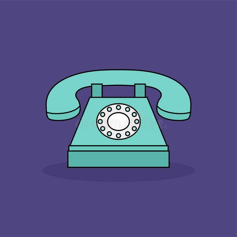 Old blue phone stock illustration  Illustration of cable