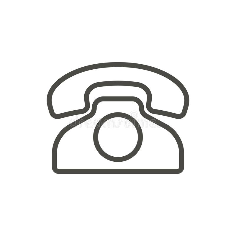 Old phone icon vector. Outline telephone. Line vintage phone symbol. stock illustration