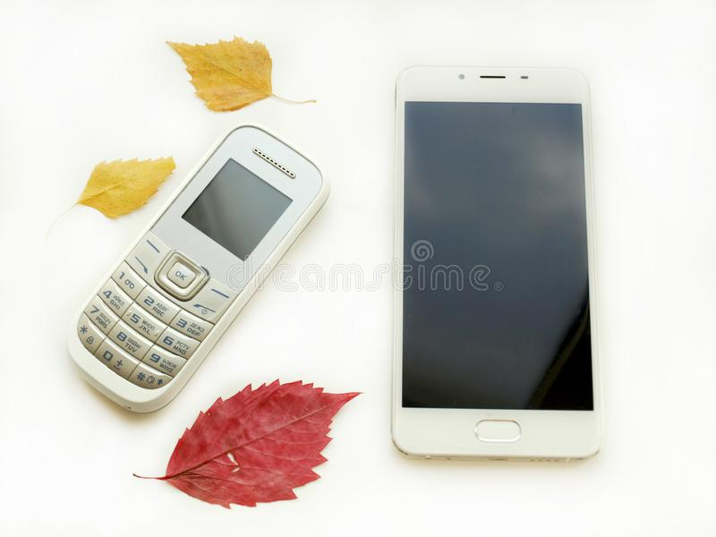 Old phone and a new smartphone royalty free stock photography