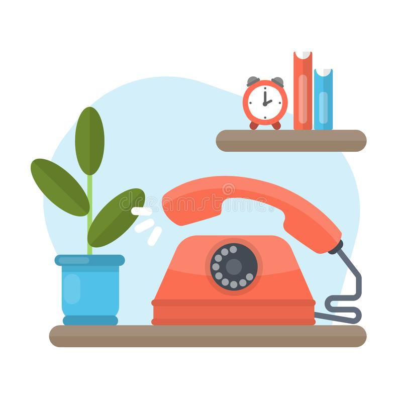 Old phone ringing. Red old-fashioned device standing on the shelf at home vector illustration
