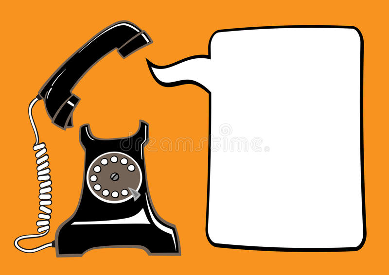 Old phone with speech bubble royalty free illustration