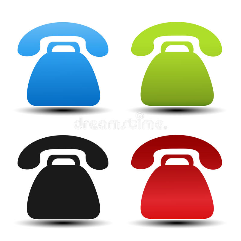 Old Phone Symbols On White Background Contact Buttons Labels In