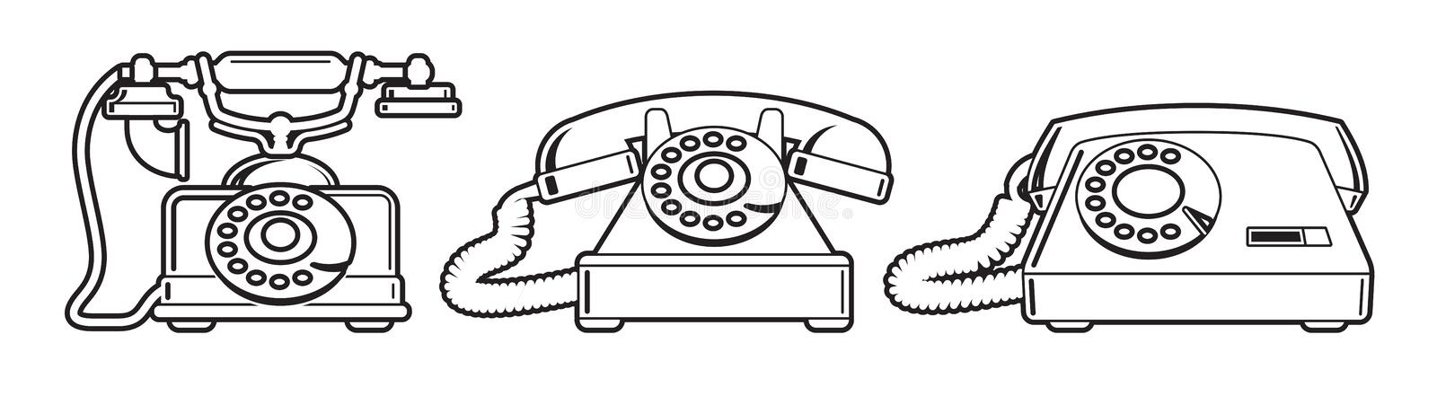 Old phones. Set of vintage phones from different periods stock illustration
