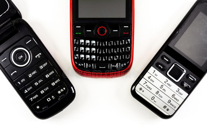 old phones royalty free stock photo