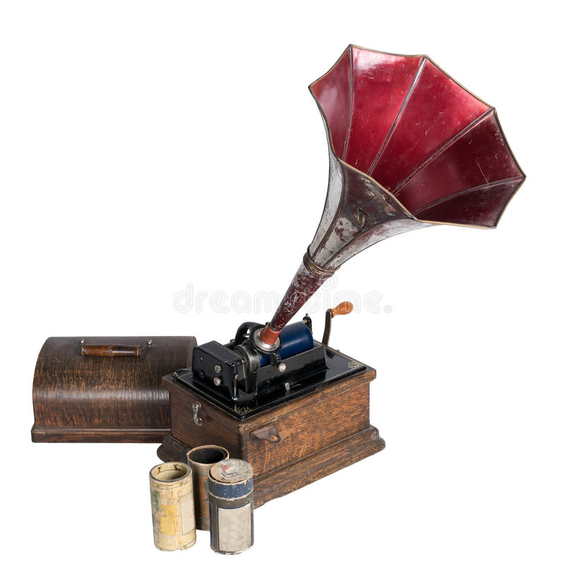 Old phonograph with three cylinder records royalty free stock photography