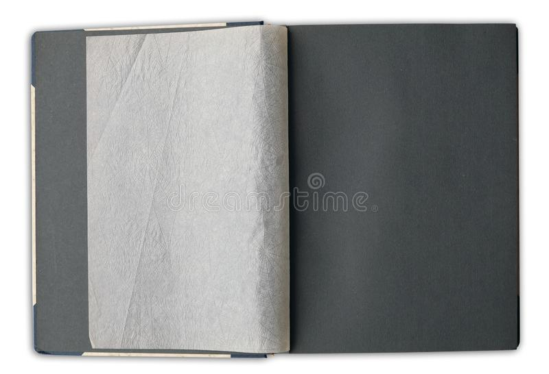 Old photo album , open book with blank pages royalty free stock images