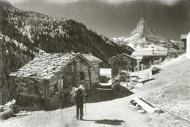 Old photo of alpine village stock photography