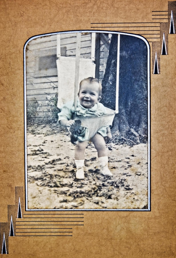 Old Photo of a Baby Outside stock photos