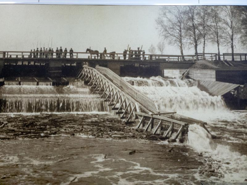 Old photo black and white. Vintage photo of people and the dam royalty free stock images