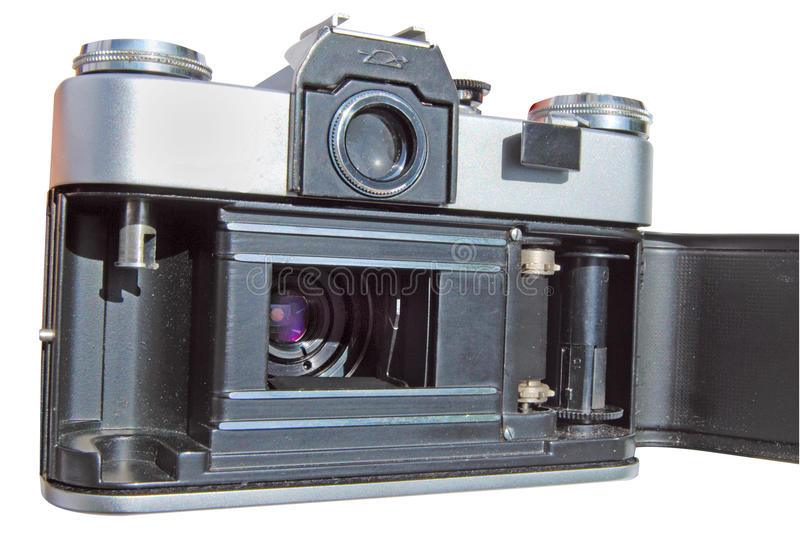 Old photo camera. Old antique photo camera isolated on white royalty free stock photos