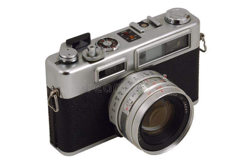 Old Photo Camera. Isolated on White stock photos