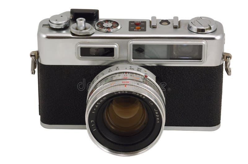 Old Photo Camera. Isolated on White stock photography