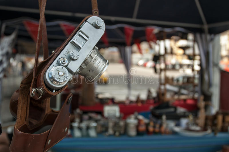 Old photo camera. Antiques fair in Constanta, Romania stock images