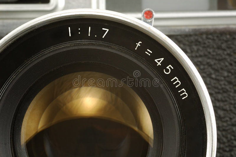 Old Photo Camera Lens. Close-up royalty free stock photo