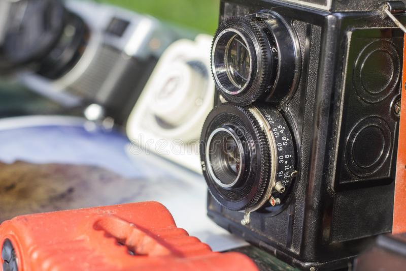 Old photo cameras. For background stock images