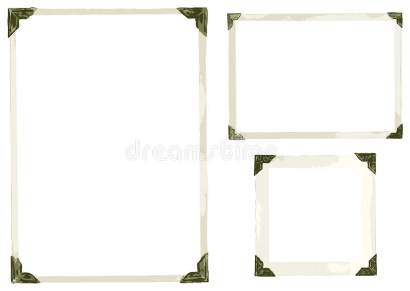 Old Photo Corners Vector. Collection of old photo corners, frames and edges in vector isolated on white stock illustration