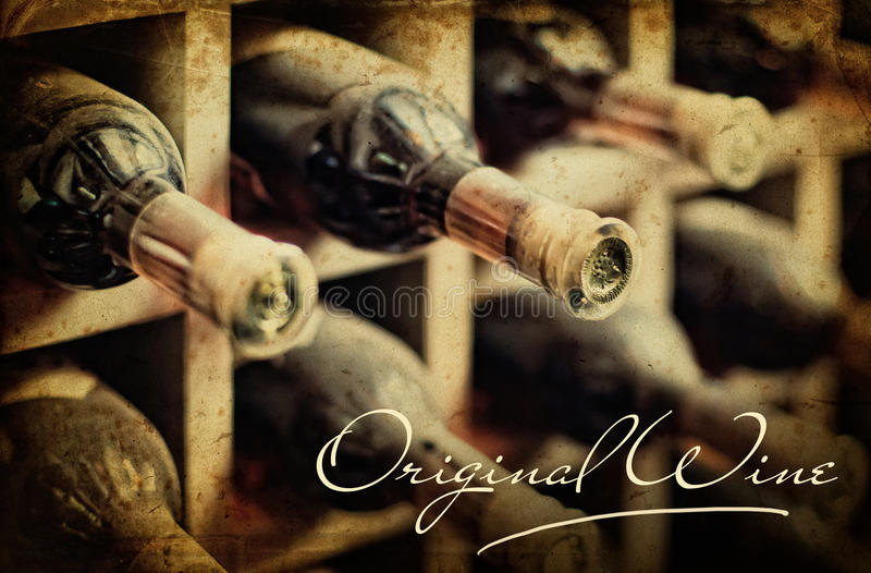 Old photo dusty wine rack. Lettering Original wine stock image