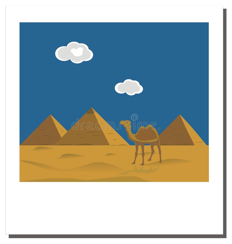 Download Old  Photo With Egyptian Pyramids, Famous Landmark Stock Vector - Image: 13090049