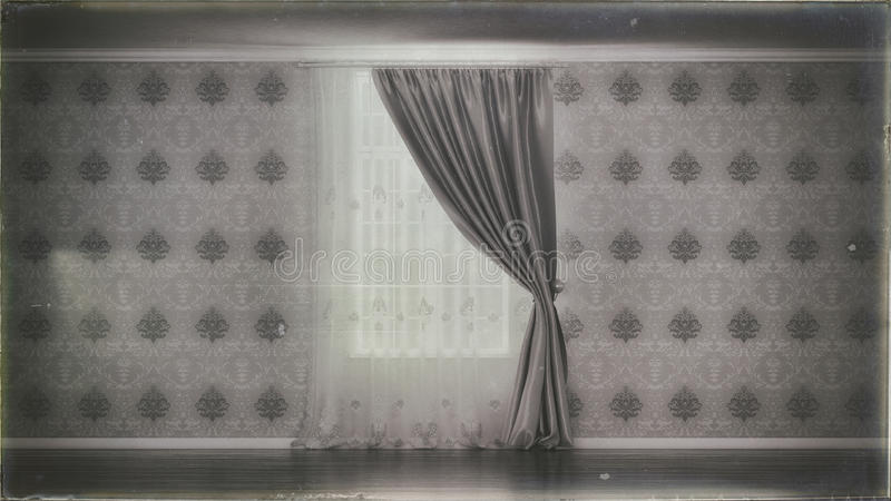 Old photo of empty room with window and curtain vector illustration
