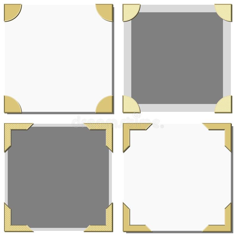 Old Photo Frame Corners Vector. In various styles stock illustration