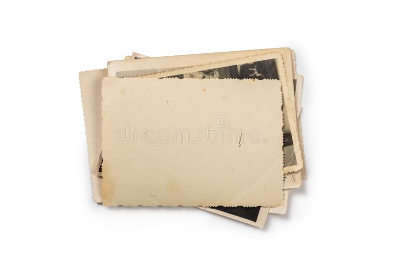 Stack of old photos with clipping path for the inside royalty free stock photography