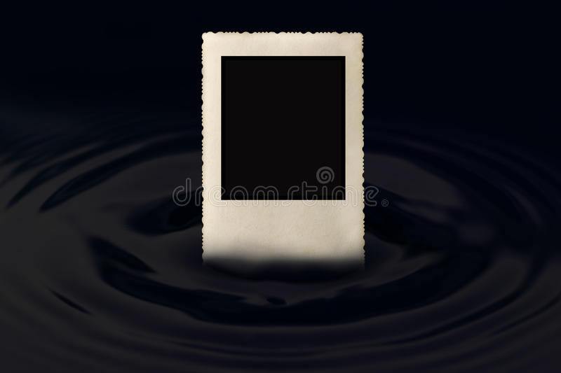 Old photo frame in the water wave stock images