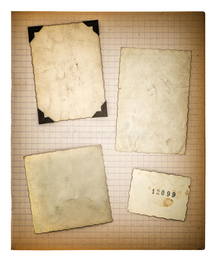 Old Photo Frames And Mathe Book Page. Aged Paper Stock Image - Image ...
