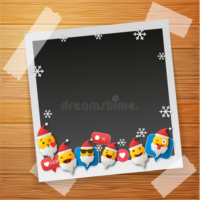 Santa Emoji happy smiley design with Old photo frames. Photo frames isolated on wooden background. 3d emotion concept illustration stock images