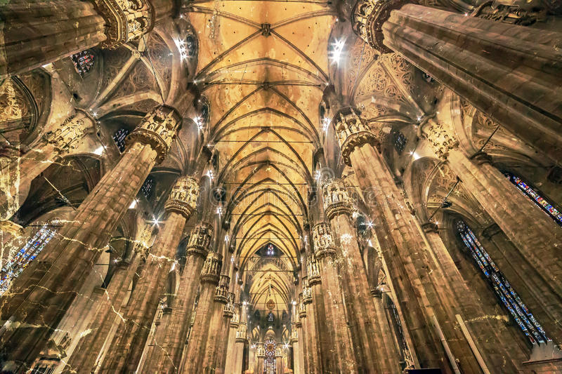Old photo with interior at the Milan cathedral. Metropolitan Cathedral-Basilica of the Nativity of Saint Mary royalty free stock photography
