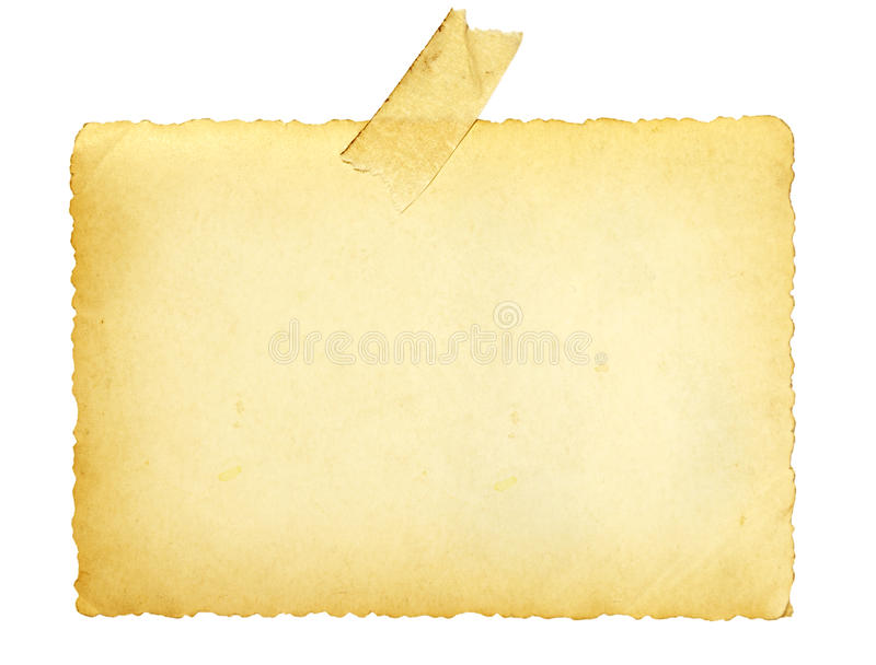 Old photo with tape note reminder blank stock image
