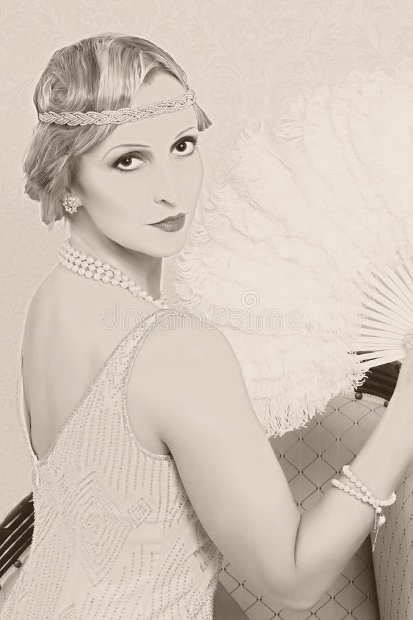 Old photo twenties style woman royalty free stock photography