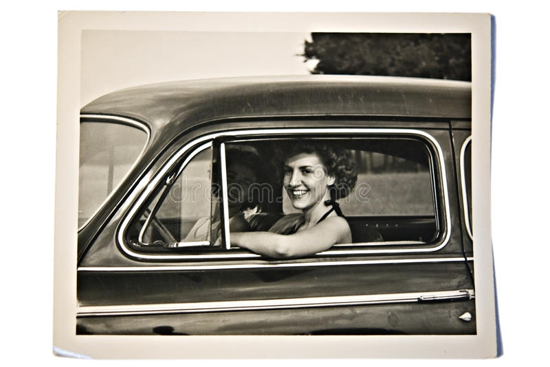 Old Photo / Women in a Car stock image