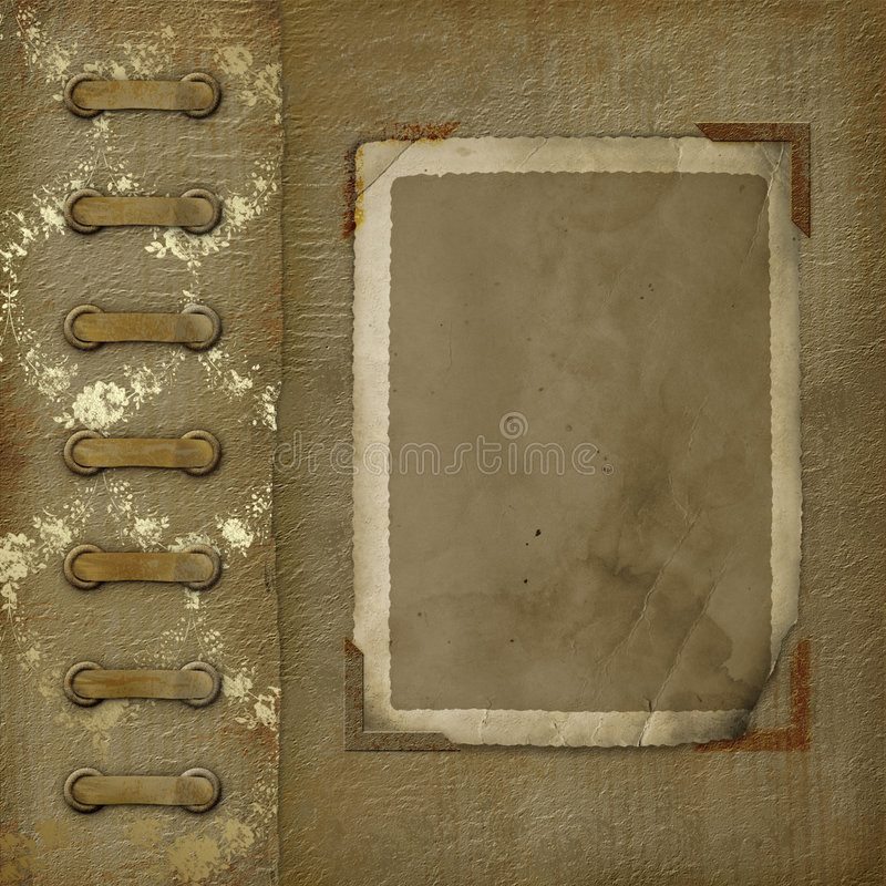 Old photoalbum with grunge frame for photos stock illustration
