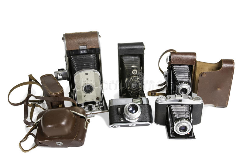 Old Photographic Cameras. Isolated on White royalty free stock images